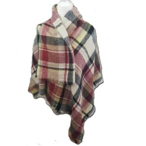 Plaid Blanket Scarf with Frayed Edges Red, Black